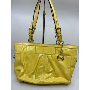 COACH Medium Patent Leather Shoulder Bag Yellow